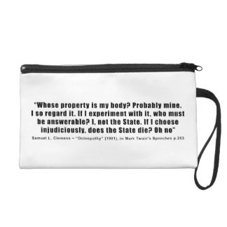 Whose Property is My Body by Samuel Clemens Wristlet Purses