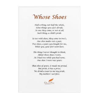 Whose Shoes Poem on Acryllic Wall Art