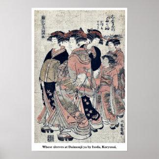 Whose sleeves at Daimonji ya by Isoda Koryusai Print