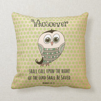 Whosoever Bible Verse with Owl Cushion