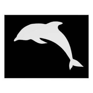 Whtie Dolphin Silhouette Poster