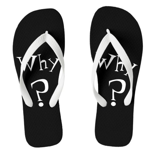 Why Big Question Mark Design Black and White Flip Flops