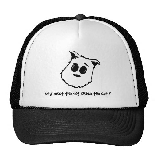 Why must the dog chase the cat? trucker hat