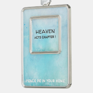 Why stand ye gazing up into heaven silver plated framed ornament