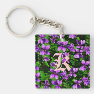 WI State Flower Wood Violet Mosaic Double-Sided Square Acrylic Key Ring