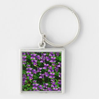 WI State Flower Wood Violet Mosaic Pattern Silver-Colored Square Key Ring