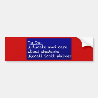 WI Teacher To Do List Bumper Sticker