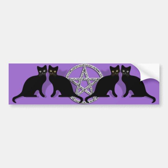 Wicca Magic Pentagram with Black Cat Familiar set
