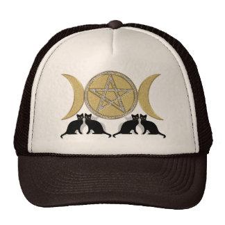 Wicca Pagan Triple Goddess Pentagram Cats Cap
