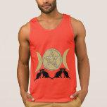 Wicca Pagan Triple Goddess Pentagram Cats Tank Top
