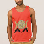 Wicca Pagan Triple Goddess Pentagram Cats Tanks