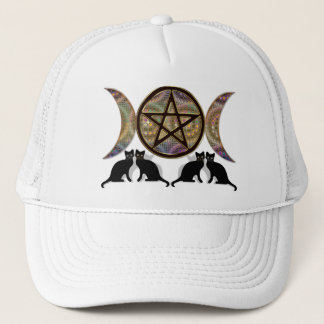 Wicca Pagan Triple Goddess Pentagram Cats Trucker Hat