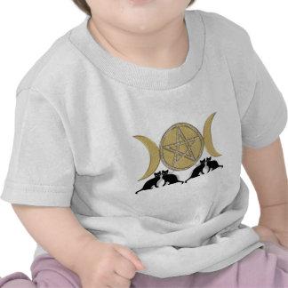 Wicca Pagan Triple Goddess Pentagram Cats T Shirts