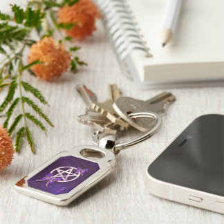 Wiccan Amethyst Jeweled Butterfly Art Silver-Colored Rectangular Metal Keychain