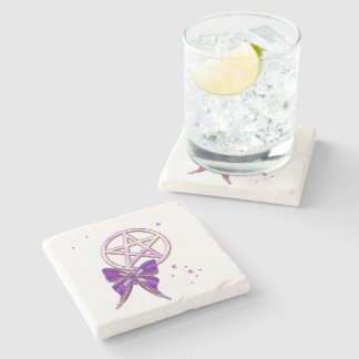 Wiccan Amethyst Jeweled Butterfly Art Stone Beverage Coaster