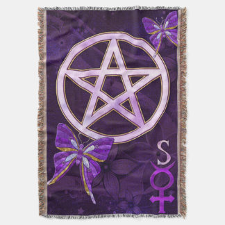 Wiccan Amethyst Jeweled Butterfly Art Throw Blanket
