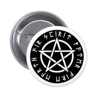 Wiccan Black Runic Pentagram 6 Cm Round Badge