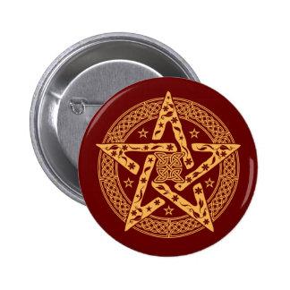 Wiccan Celtic Floral Pentgram with Stars 6 Cm Round Badge