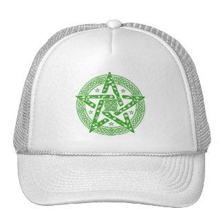 Wiccan Celtic Knot Pentagram with Floral Pattern Cap