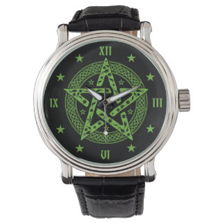 Wiccan Celtic Pentagram with Floral Pattern Watch