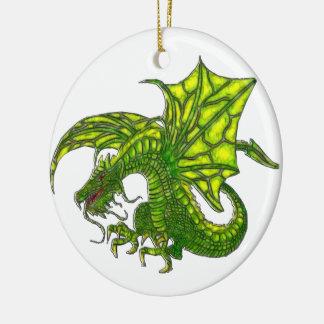 Wiccan Dragon 2 Round Ceramic Decoration