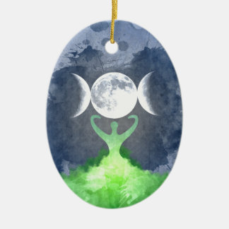 Wiccan Mother Earth Goddess Moon Christmas Ornament
