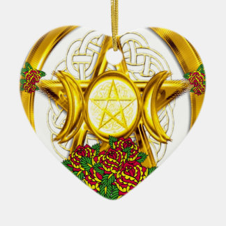 Wiccan Pagan Pentacle Gold With Roses Ceramic Heart Decoration