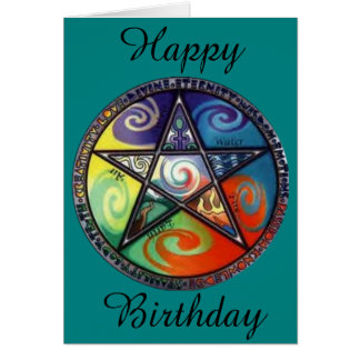 Wiccan Pentagram Birthday Greeting Card