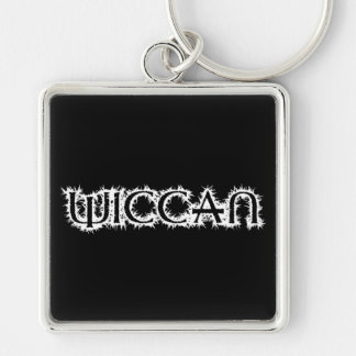 Wiccan Silver-Colored Square Key Ring
