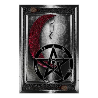 Wiccan Silver Cresent Moon & Pentacle Print