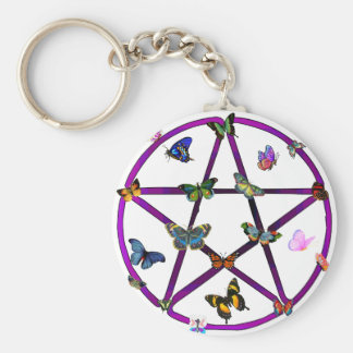 Wiccan Star and Butterflies Basic Round Button Key Ring