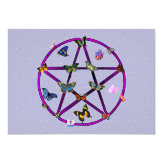 Wiccan Star and Butterflies Card