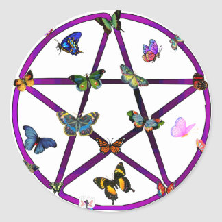 Wiccan Star and Butterflies Classic Round Sticker