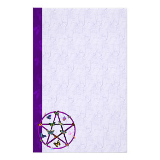 Wiccan Star and Butterflies Customized Stationery