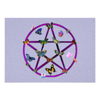 Wiccan Star and Butterflies Personalized Announcements