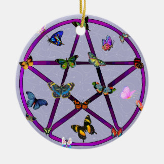 Wiccan Star and Butterflies Round Ceramic Decoration