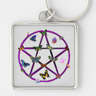 Wiccan Star and Butterflies Silver-Colored Square Key Ring
