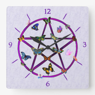 Wiccan Star and Butterflies Square Wall Clock