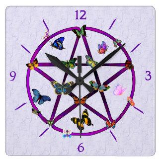 Wiccan Star and Butterflies Wallclock