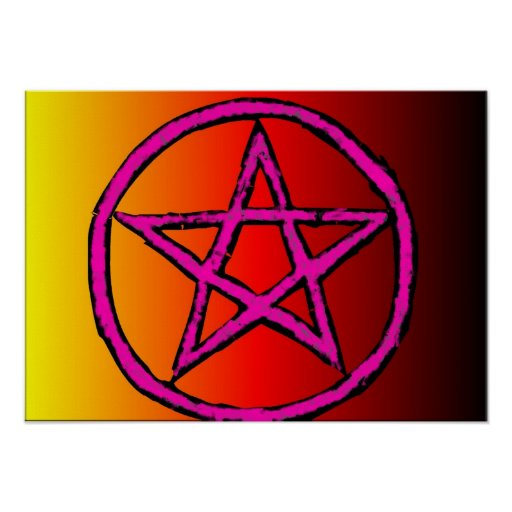 Wiccan Star Red Poster