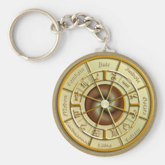 Wiccan Wheel of the Year Basic Round Button Key Ring