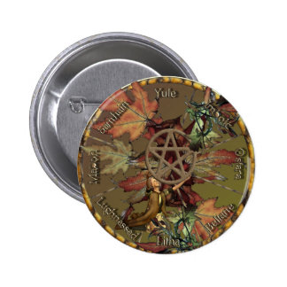 Wiccan Wheel With Pentacle Buttons