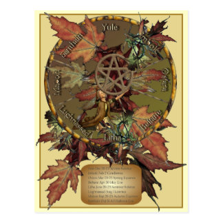 Wiccan Wheel With Pentacle Postcard