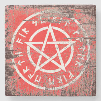 Wiccan white pentagram in aged style stone coaster