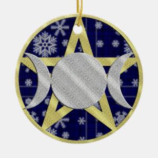 Wiccan Yule Christmas Snowflake Pentagram ornament