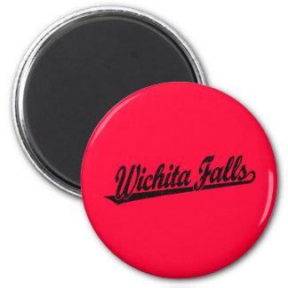 Wichita Falls script logo in black distressed 6 Cm Round Magnet