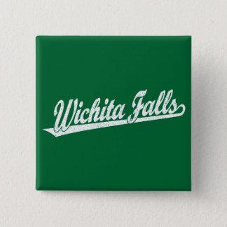 Wichita Falls script logo in white distressed 15 Cm Square Badge