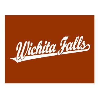 Wichita Falls script logo in white Postcard