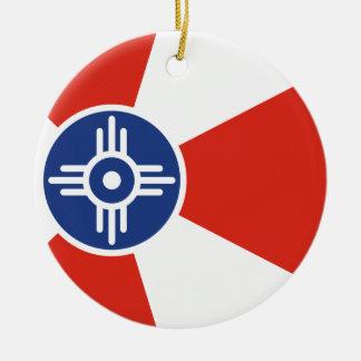 Wichita Kansas ICT Flag Christmas Ornament