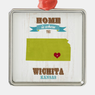 Wichita, Kansas Map – Home Is Where The Heart Is Christmas Ornament